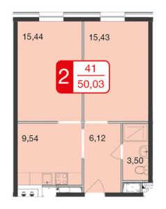 Планировка 2-комнатной квартиры в М1 Сколково